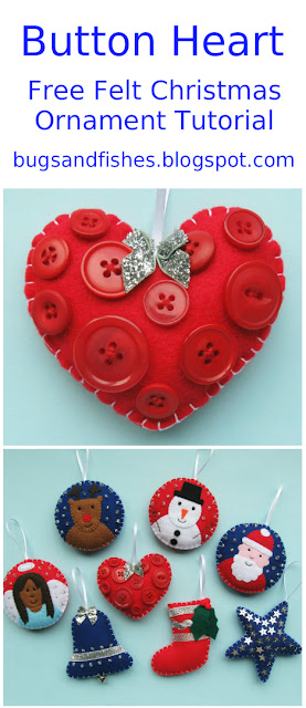 button heart felt ornament tutorial