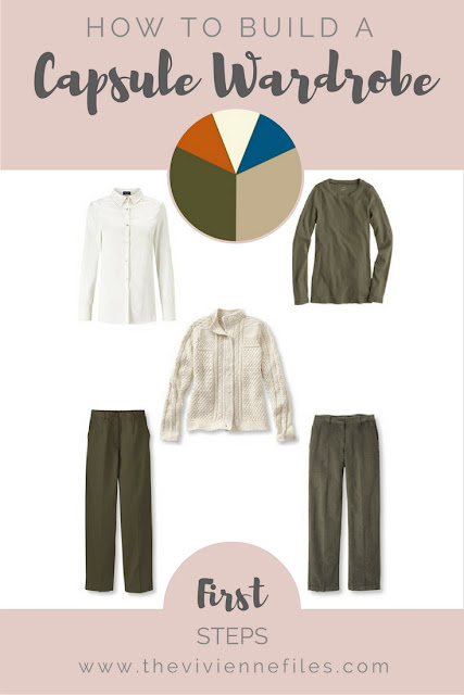 How to start a capsule wardrobe from scratch in a khaki, beige, teal, and rust, color palette - First Steps