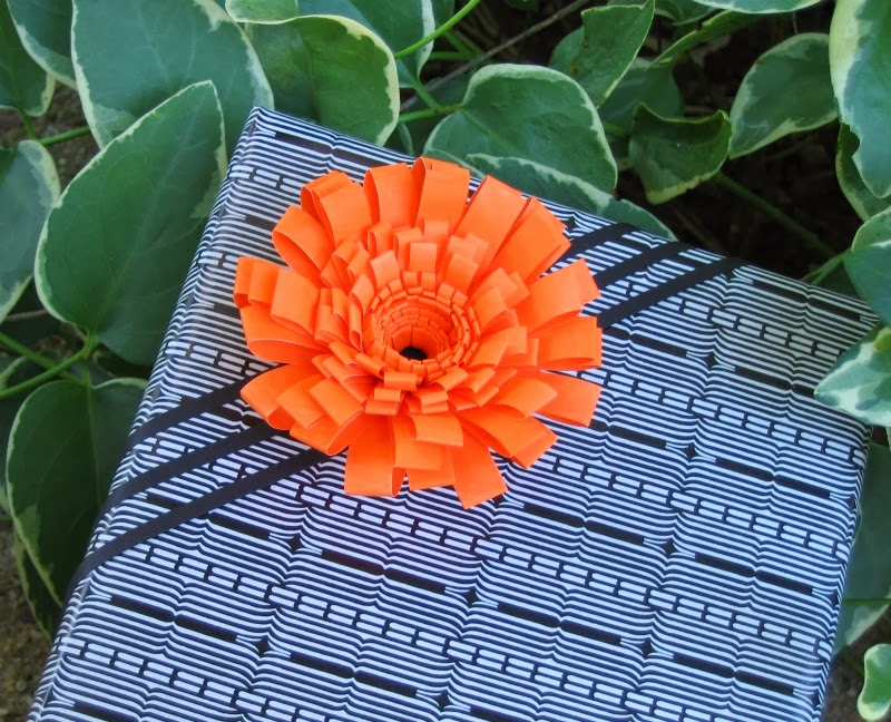 Fringed Paper Flower Gift Topper on Present