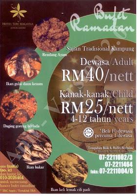 Bufet Ramadan   Sajian Tradisional Kampung  Hotel Seri Malaysia, Johor Bahru  Dewasa RM40 nett  Kanak-kanak RM25 nett      Beli 10 Percuma 1  Untuk tempahan :07 221 1002 / 07 221 1003 / 07 221 1464