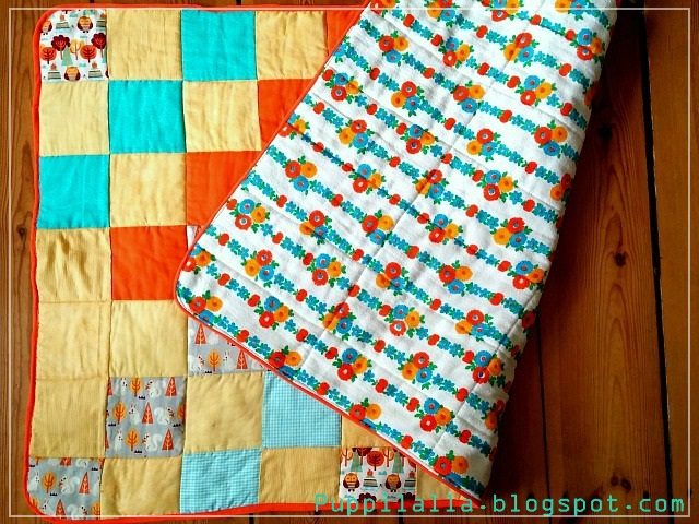Simple Squares Patchwork Baby Quilt in Yellow, Orange and Blue by Puppilalla