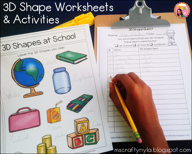 3D Shape Worksheets labeling