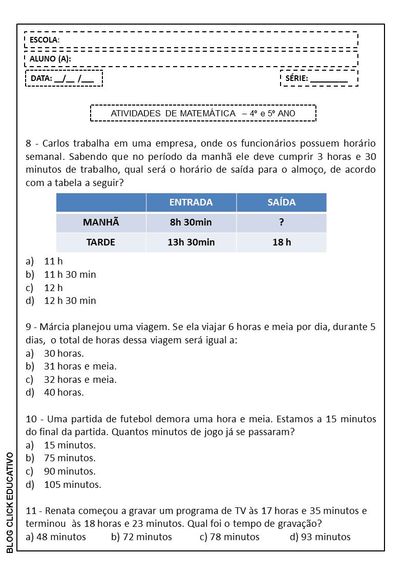 Questoes De Matematica Com Gabarito