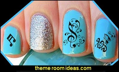Sheet Music Notes Water Slide Nail Art Decals Set