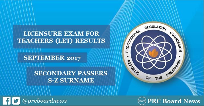 September 2017 LET board exam results: S-Z Passers Secondary