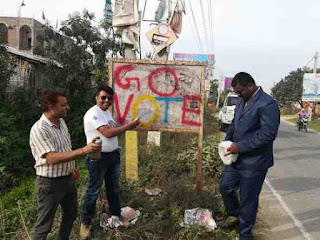 Write slogan to vote by administration, election