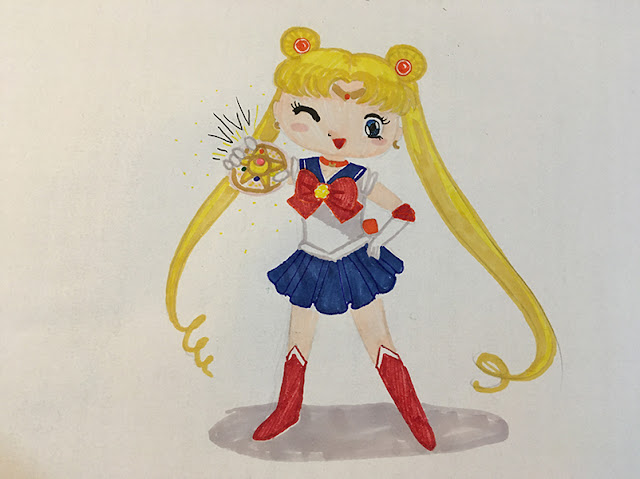 ilustração fofinha da guerreira Sailor Moon segurando o compact mágico