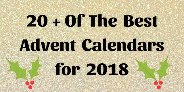 A title box with a gold glittery background and 20 + of the best advent calendars for 2018 written on it