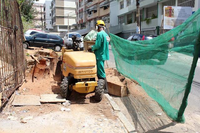 Seman retira toco de árvore que impedia acessibilidade na Rua Macaúbas