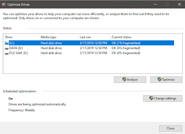 Cara Defrag HDD di Windows 10