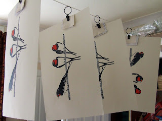 Swallow Prints Drying