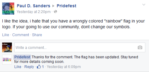 Atari's Pridefest gets their rainbow flag wrong.