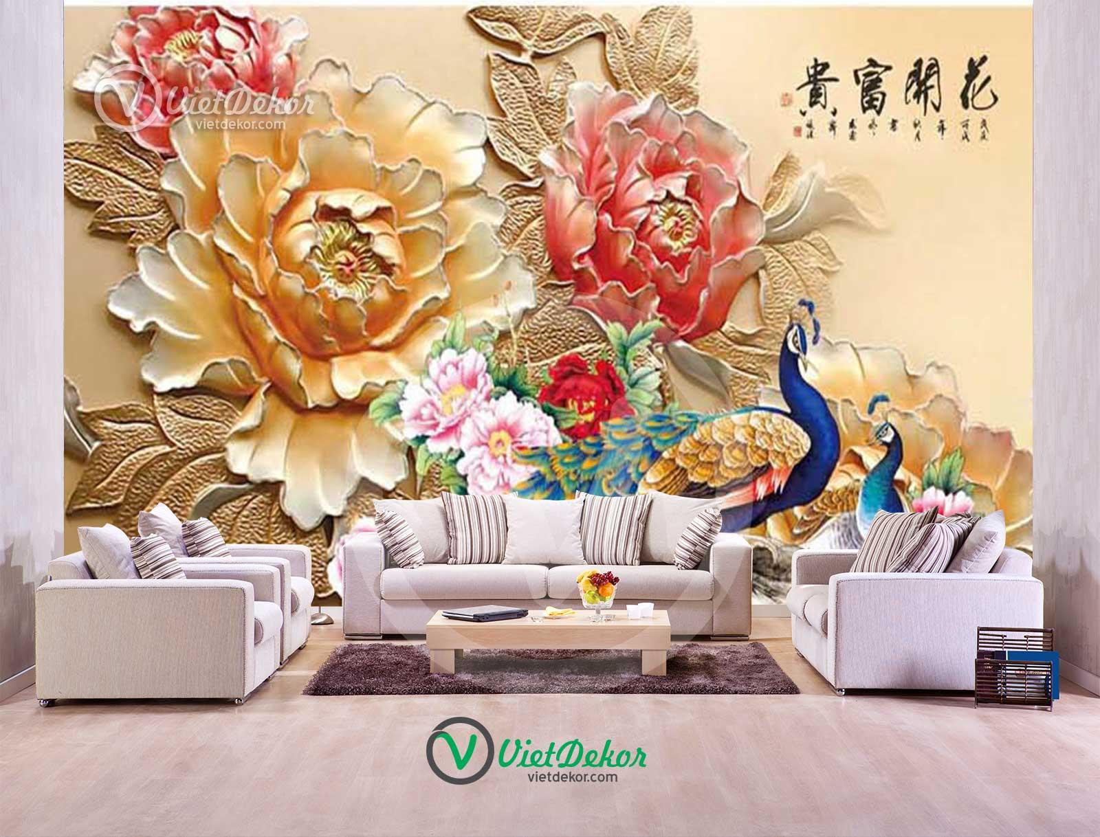Tranh dán tường 3d khổng tước hoa mẫu đơn cho phòng khách đẹp