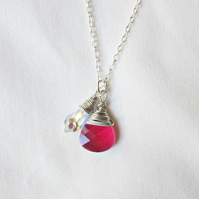 image wire-wrapped pendant necklace swarovski crystal clear aurora borealis ruby siam red briolette teardrop drop handmade two cheeky monkeys silver