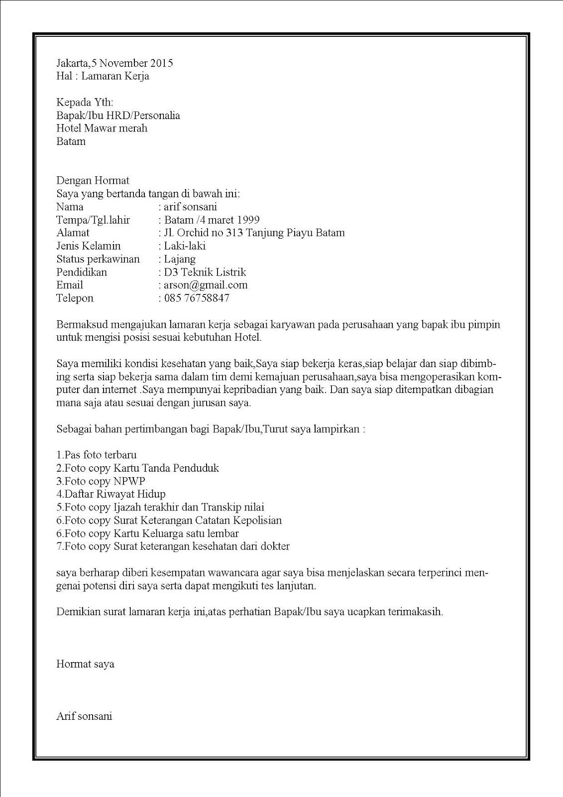 Contoh surat lamaran kerja di hotel atas inisiatif sendiri.