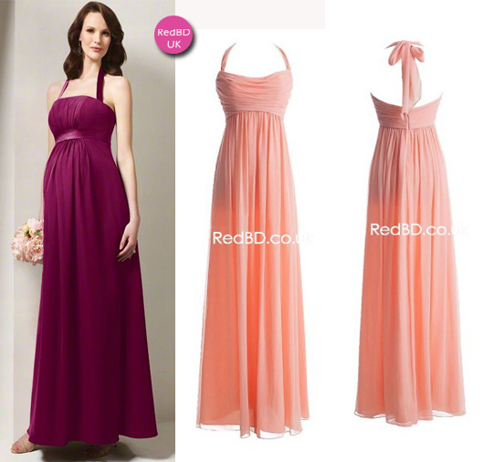 Chiffon Halter Ruched Bodice Empire Waist Pleated Skirt Long Bridesmaid Dress