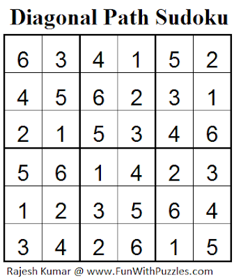 Diagonal Path Sudoku (Mini Sudoku Series #37) Solution