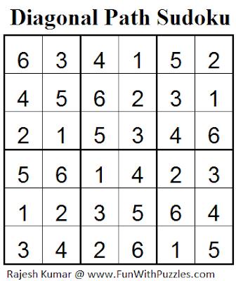 Diagonal Path Sudoku (Mini Sudoku Series #37) Solution