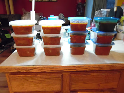 Photo of soup in containers ready for the freezer