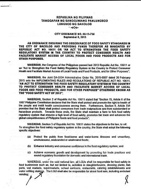 Food Safety Ordinance of Bacolod