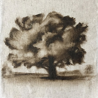 Daily Art 08-23-2018 tree study exercise with raw umber acrylic paint