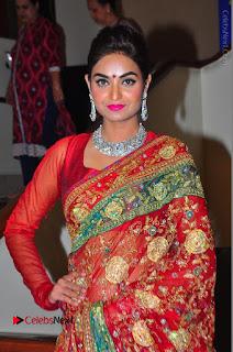 Model Sharon Fernandes Stills in Red Saree at Trendz Exhibition Launch  0040.JPG