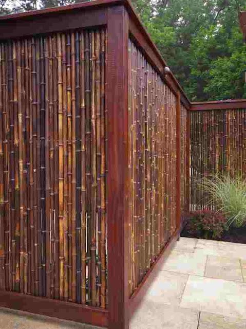 desain pagar rumah minimalis bambu