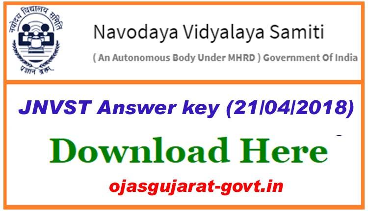 jnvst answer key 21 04 2018 navodaya 6th class question paper