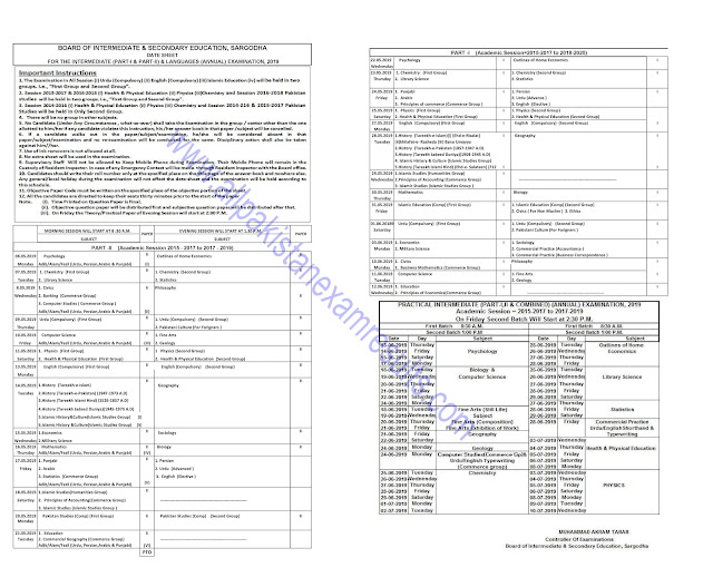 BISE Sargodha 11th Class Date Sheet 2019