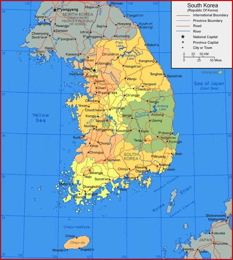 South Korea Map | Sejarah Negara Com