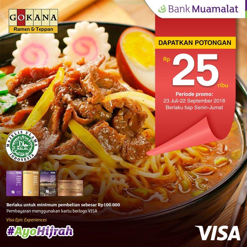 Bank Muamalat - Promo Potongan 25 Ribu Makan di Gokana Ramen & Tepan (s.d 22 Sept 2018)
