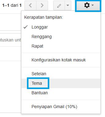 mengganti tema dari akun email anda
