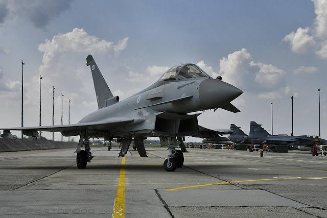 RAF Typhoons train Hungarian Gripens