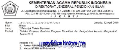 Petunjuk Pelaksanaan Bantuan Program Penelitian 2018