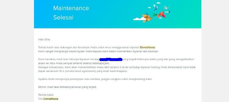 kompensasi hosting gratis domainesia