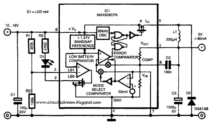 Simple Switch-Mode Voltage Regulator Circuit Diagram