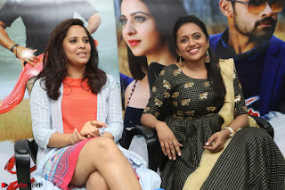 Actress Suma in Black Salwar Suit and Anusuya in orange Dress at winner movie press meet part 2 February 2017 (52).JPG