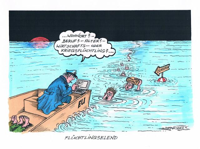 Flüchtlingselend, Zeichnung
