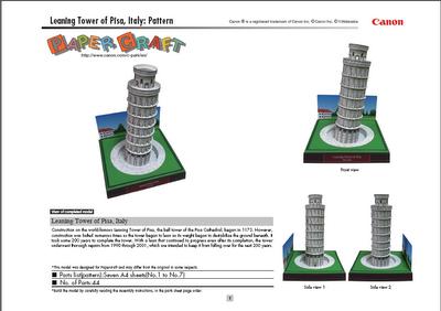 Torre Pisa, papel, construcción, manualidades,