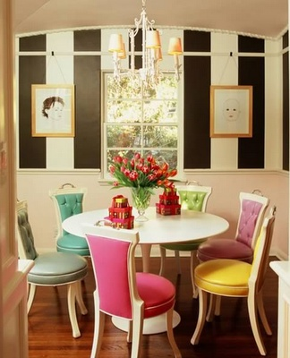 The Colorful Mix Of These Tolix Chairs Adds Some Color To This Otherwise  White Kitchen.