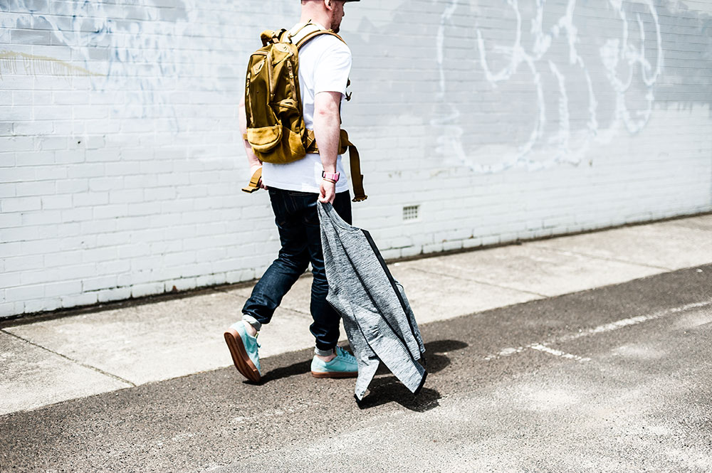Nike Sportswear Heather Grey Tech Knit 2.0 / Supreme New York X Nike Blazer Low GT 'Cannon' Sneakers / Visvim Ballistic 20L 'Mustard' Backpack / Denham The Jeanmaker Razor VIS Raw Selvedge Jeans by Tom Cunningham