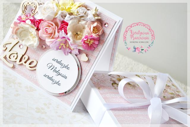 Walentynkowa, kwiatowa kartka, scrapbooking, handmade