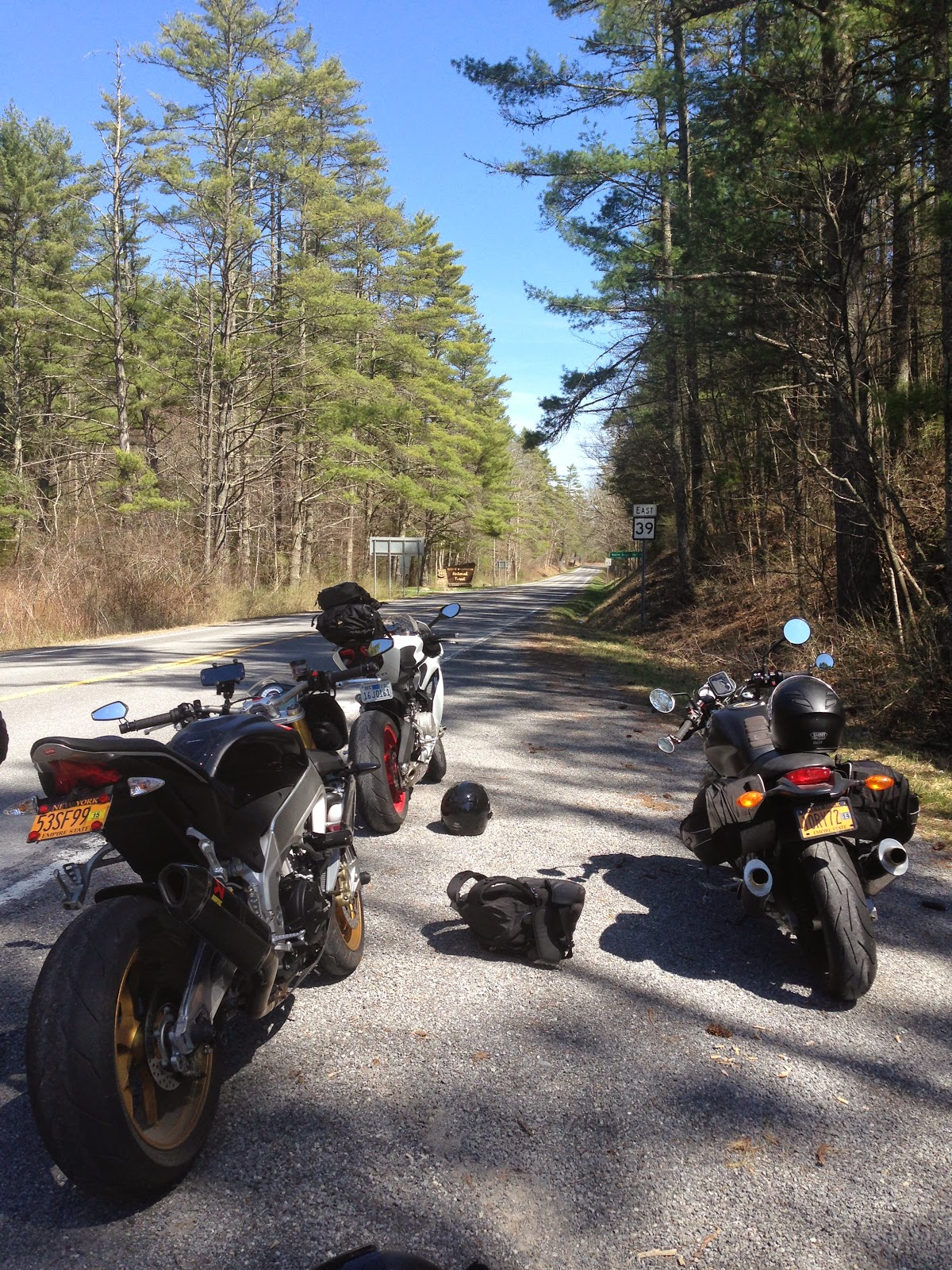 Ducati 899 Panigale, Tigho's Monster, Aprilia Tuono V4R motorcycles in George Washington National Forest