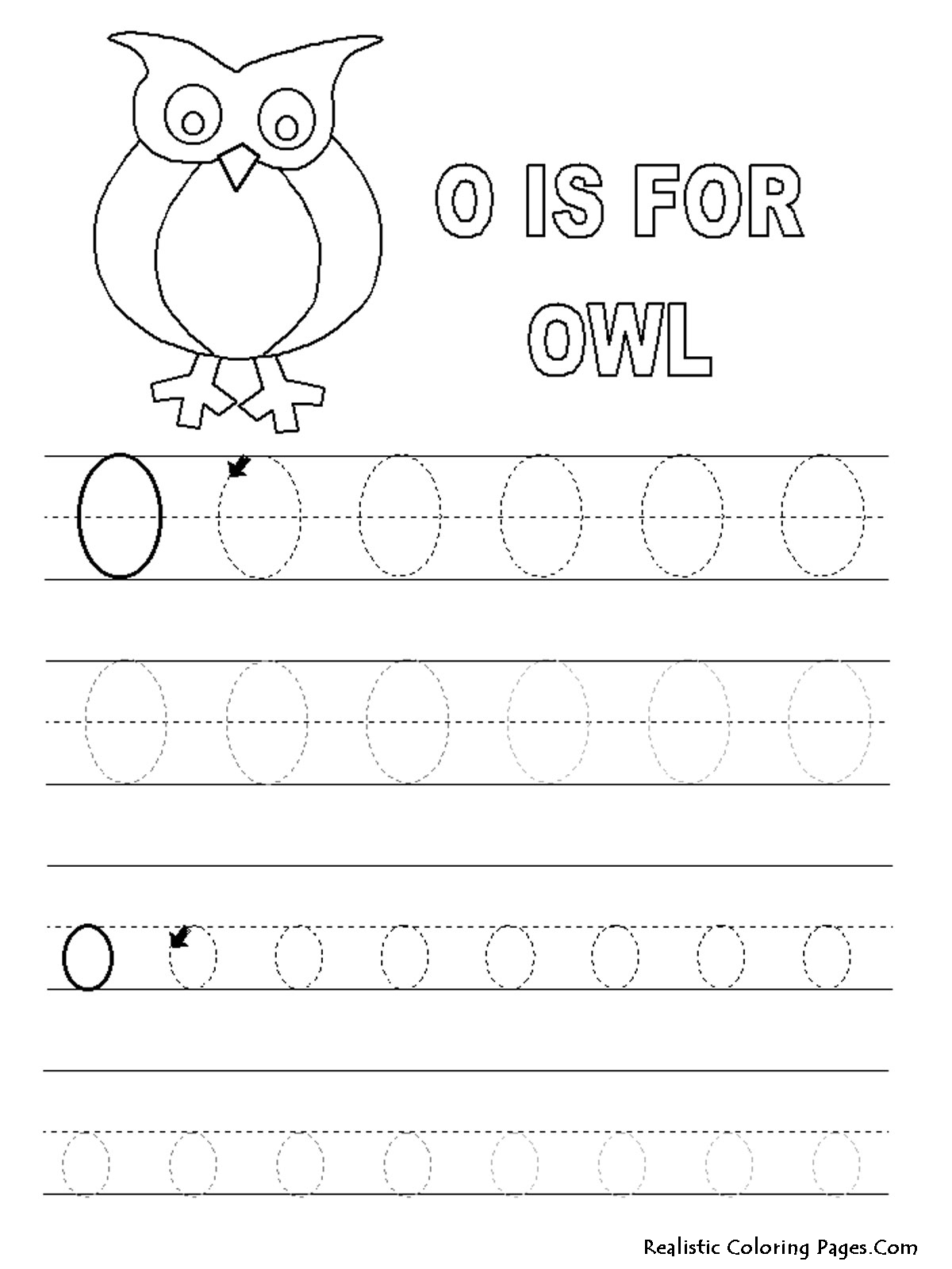 O Letters Alphabet Coloring Pages Printable