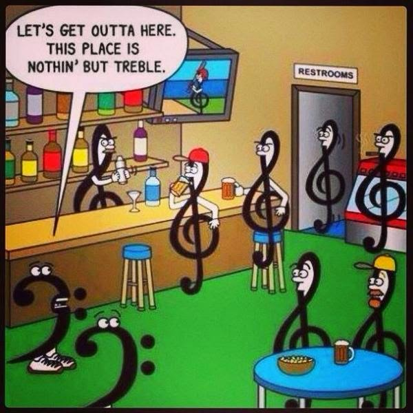 Funny Let's Get Outta Here. This Place Is Nothin But Treble Cartoon