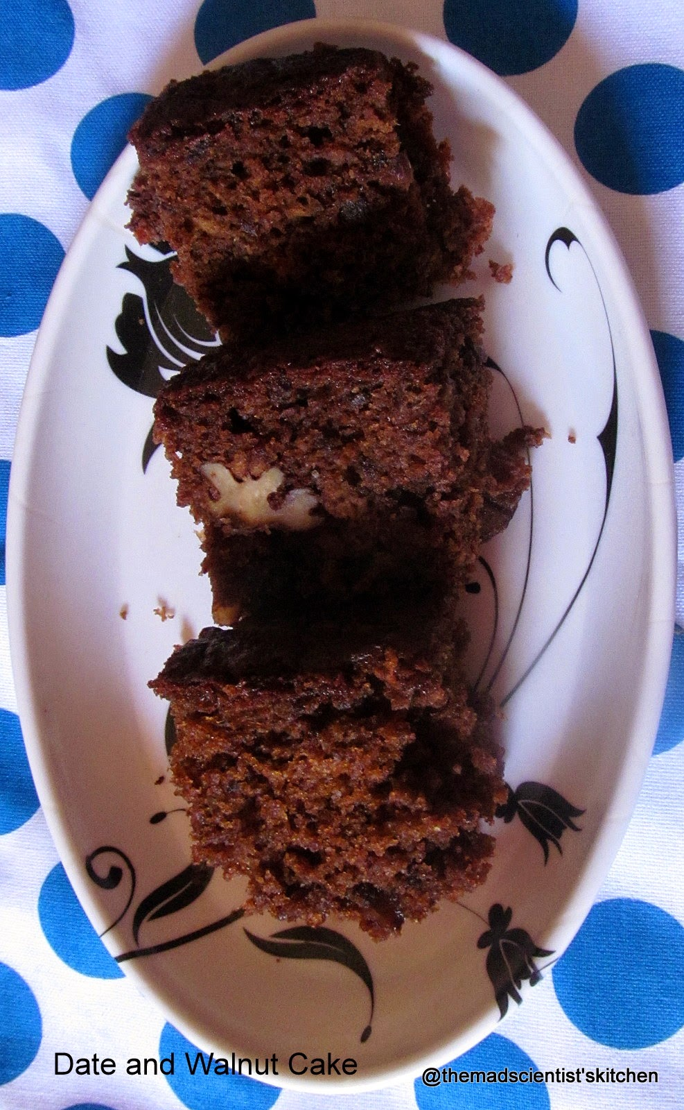 Egg-less Date and Walnut Cake