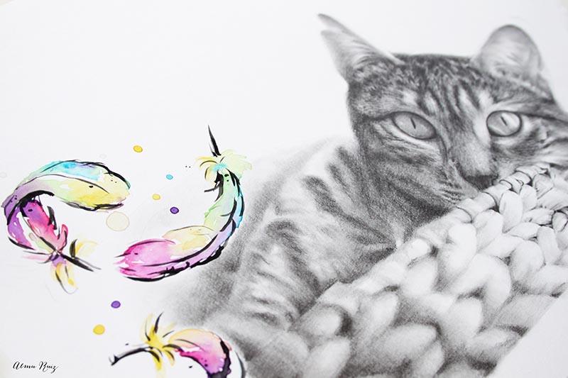Retrato de mascotas a lápiz y acuarela