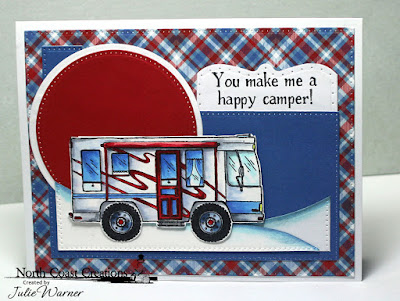 North Coast Creations Stamp Set: Camper Sweet Camper, Our Daily Bread Designs Custom Dies: Pierced Rectangles, Pierced Circles, Circles, Surprise Box, ODBD Paper Collection: Old Glory