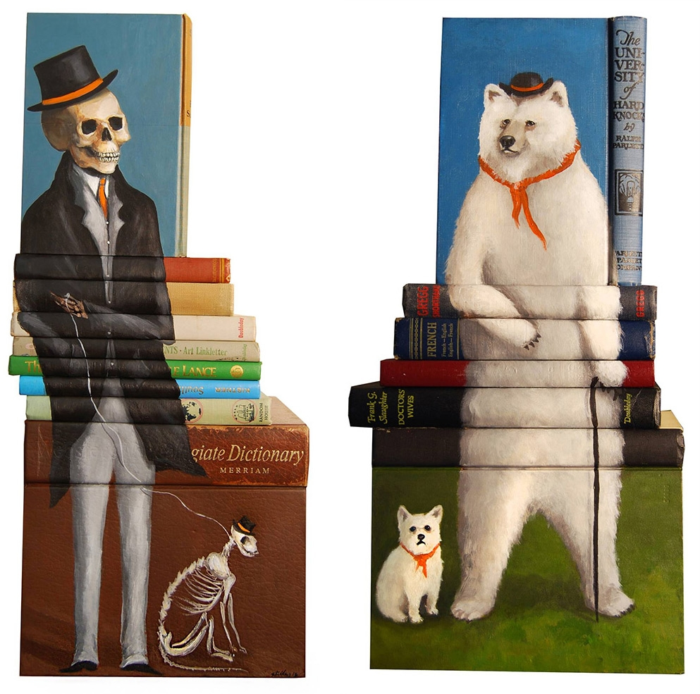 07-Mike-Stilkey-Books-used-as-Canvasses-for-Paintings-www-designstack-co