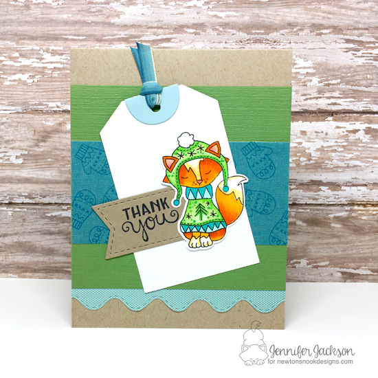 Fox in Sweater Thank You Card by Jennifer Jackson | Sweater Weather Stamp Set by Newton's Nook Designs #newtonsnook #handmade